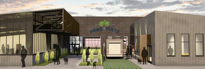 A rendering of the plans for Paws and Pints, a dog park and full-service bar Kyle and Megan Casey hope to bring to Des Moines in 2020.