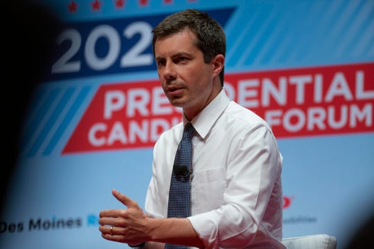 Pete Buttigieg, mayor of South Bend, Ind., speaks at the AARP Presidential Forum at the Arts Center at Iowa Western in Council Bluffs, Iowa, on July 20, 2019.