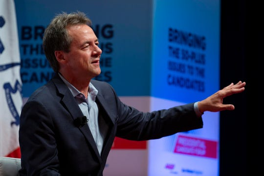 Montana Gov. Steve Bullock, speaks at the AARP Presidential Forum at the Arts Center at Iowa Western in Council Bluffs, Iowa, on July 20, 2019.