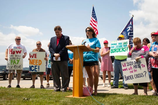 Michelle Root, mother of Sarah Root, who was killed in a car accident by an illegal immigrant, speaks outside the Arts Center at Iowa Western on July 20, 2019.