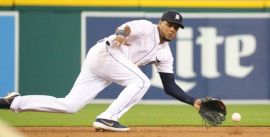 Detroit Tigers third baseman Jeimer Candelario dives for a ground ball vs. the Toronto Blue Jays, Friday, July 19, 2019 at Comerica Park.