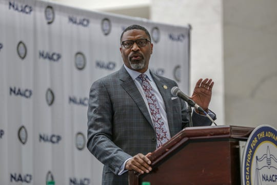 Derrick Johnson,  President and CEO of the National Association for the Advancement of Colored People (NAACP), speaks during the opening press conference at NAACP's 110th National Convention at Cobo Center's River Atrium in Detroit on Saturday, July 20, 2019.