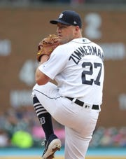 Detroit Tigers' Jordan Zimmermann pitches against the Toronto Blue Jays during the first inning Friday, July 19, 2019 at Comerica Park.