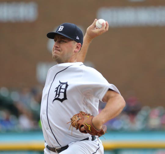 Detroit Tigers pitcher Jordan Zimmermann throws against the Toronto Blue Jays during the first inning  July 19, 2019, at Comerica Park in Detroit.