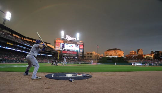Cloudy skies reflect a rainbow during the Detroit Tigers game against the Toronto Blue Jays, Friday, July 19, 2019 at Comerica Park.