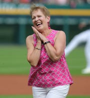 Cancer survivor Karen Hicks threw out the first pitch to her son Tigers catcher John Hicks at Pink out the Park before the game against the Toronto Blue Jays, Friday, July 19, 2019 at Comerica Park.