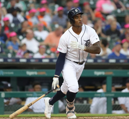 Detroit Tigers first baseman Niko Goodrum singles against the Toronto Blue Jays during the first inning Friday, July 19, 2019 at Comerica Park.