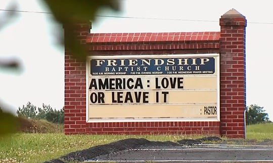 "Amid a national furor over President Donald Trump's tweet urging four Democratic congresswomen to ""go back"" to their home countries, Pastor E. W. Lucas is gaining attention with the sign at his church in Appomattox, Va."