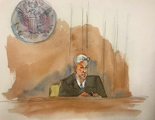 "In this courtroom sketch, Judge Richard M. Berman speaking as he denies Jeffrey Epstein bail during a hearing in federal court, Thursday, July 18, 2019 in New York. Judge Berman denied bail for the jailed financier on sex trafficking charges, saying the danger to the community that would result if the jet-setting defendant was free formed the ""heart of this decision."""