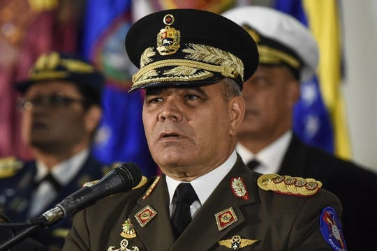 Vladimir Padrino Lopez, Venezuela's defense minister, speaks during a press conference in Caracas.