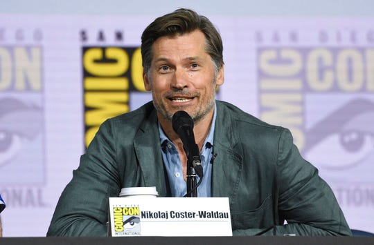 "Nikolaj Coster-Waldau participates at the ""Game of Thrones"" panel on day two of Comic-Con International on Friday, July 19, 2019, in San Diego."