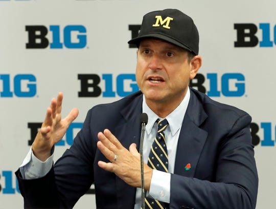 Michigan coach Jim Harbaugh responds to a question during Big Ten media days on Friday.