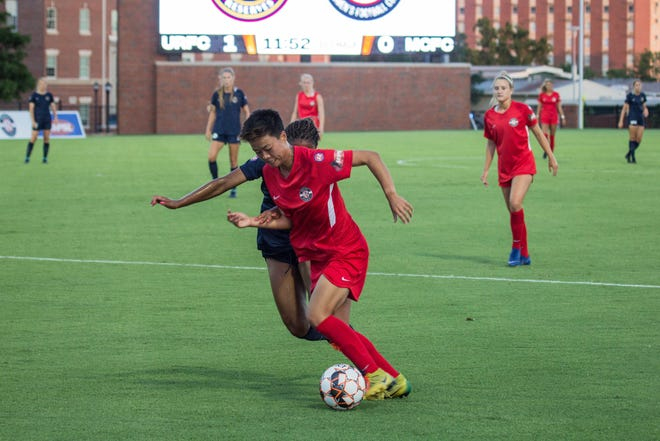 Motor City FC's Yujie Zhao carries the ball in the first half. Zhao scored Motor City's goal in regulation.