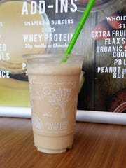 A vanilla chai frappe with whey protein at the Iron Compass inside the Evansville Regional Airport.