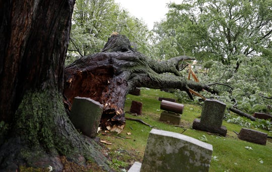 Severe weather caused damage at Allouez Catholic Cemetery on July 20, 2019 in Allouez, Wis. Sarah Kloepping/USA TODAY NETWORK-Wisconsin
