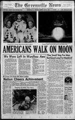 The front page of The Greenville News on July 21, 1969.