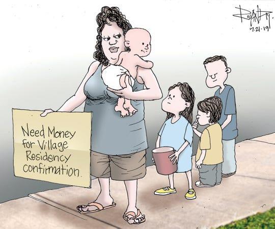 Sunday cartoon on village verification.