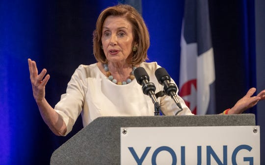 Speaker of the U.S. House of Representatives Nancy Pelosi, gives an address as part of an annual Young Democrats of America convention in Indianapolis, Friday, July 19, 2019.