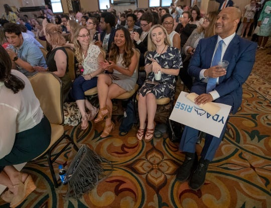 Andre Carson (right), U.S. House of Representatives member, spoke at the national convention for the Young Democrats of America, held in Indianapolis, Friday, July 19, 2019.