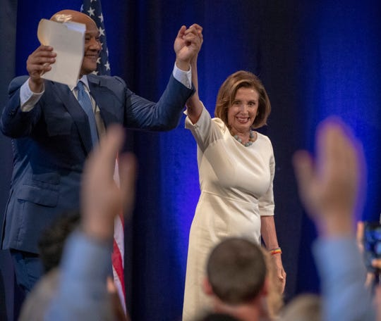 Speaker of the U.S. House of Representatives Nancy Pelosi (right), with local Representative Andre Carson, spoke at the annual Young Democrats of America national convention in Indianapolis, Friday, July 19, 2019.