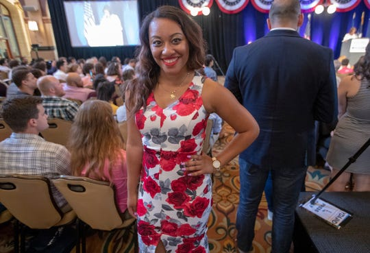 Arielle Brandy, National Committeewoman for the Young Democrats of America, speaks at the group's annual national convention in Indianapolis, Friday, July 19, 2019.