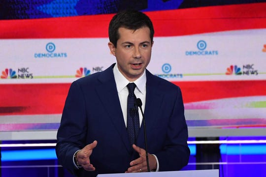 South Bend Mayor Pete Buttigieg speaks during the Democratic primary debate in Miami on Thursday, June 27, 2019.