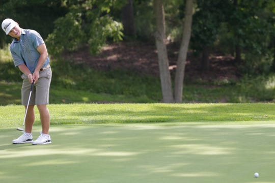 Nic Hofman putts on hole 13 during round three of the Men's City Golf Championship, Saturday, July 20, 2019 at Birck Boilermaker Golf Complex in West Lafayette.