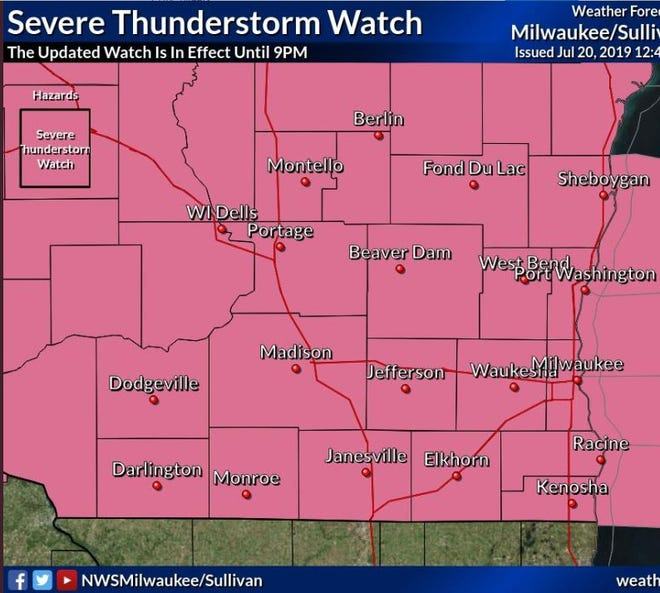A severe thunderstorm watch has been issued for south eastern and south central Wisconsin until 9 p.m. Saturday, on top of an extreme heat warning.