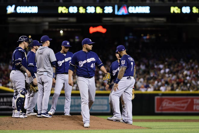 Brewers starting  pitcher Jhoulys Chacin was designated for assignment Saturday while on the injured list.