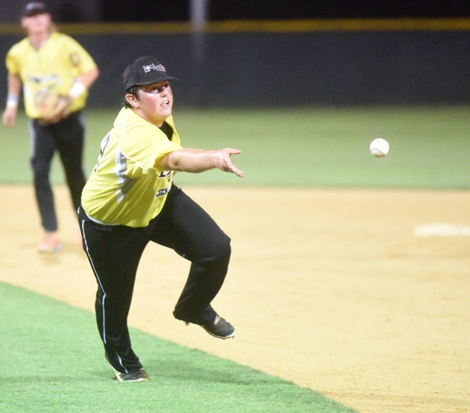 Lockeroom pitcher Tyler Smith fields a ground ball after losing his glove during state tournament action Friday night in Conway.