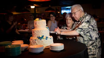 Harry and Evelyn Balzert, both veterans of the Korean War, have been together for almost a decade and decided to tie the knot at Bambusa, which hosts one of the many karaoke nights they attend weekly, on Saturday, July 20, 2019.
