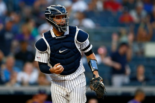 Jul 19, 2019; Bronx, NY, USA; New York Yankees catcher Gary Sanchez (24) reacts against the Colorado Rockies during the second inning at Yankee Stadium.