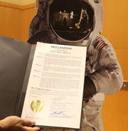 A Montclair Twp. proclamation recognizing Buzz Aldrin as Montclair hosted an Apollo 11 commemoration event July 20, 2019 to celebrate the 50th anniversary of the moon landing when Neil Armstrong and Montclair's own Buzz Aldrin became the first men to step onto the surface of the moon.