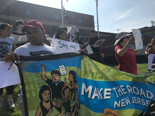 Protesters outside the Bergen County Jail in Hackensack on July 20, 2019 demanding air conditioners be fixed as a heat wave hits the area.