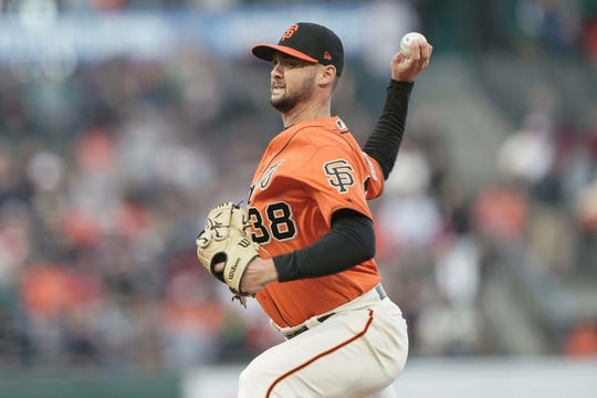 Jul 19, 2019; San Francisco, CA, USA; San Francisco Giants starting pitcher Tyler Beede (38) pitches against the New York Mets during the first inning at Oracle Park.