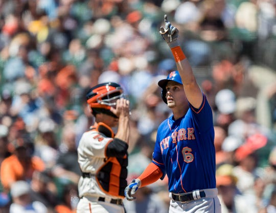Jul 20, 2019; San Francisco, CA, USA; New York Mets right fielder Jeff McNeil (6) reacts after hitting a two-run home run against the San Francisco Giants in the fifth inning at Oracle Park. Mandatory Credit: John Hefti-USA TODAY Sports