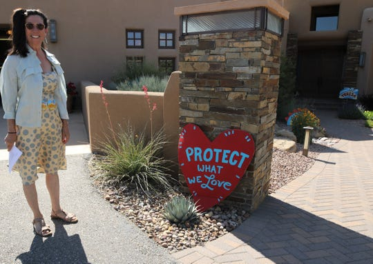Teresa Leger Fernandez stands outside a house, Friday, July 19, 2019, prior to a fundraiser in Farmington.