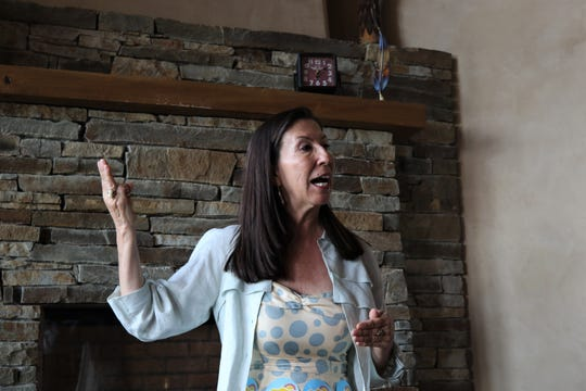 Teresa Leger Fernandez speaks, Friday, July 19, 2019, during a fundraiser in Farmington.