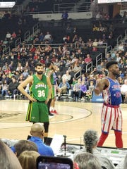Blayde Reich, left, in action for the Washington Generals during a recent game with the Harlem Globetrotters.