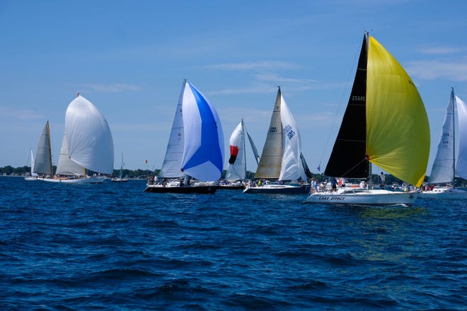 It was a spinnaker start for the 95th running of the Port Huron-to-Mackinac Island Sailboat Race Saturday morning.