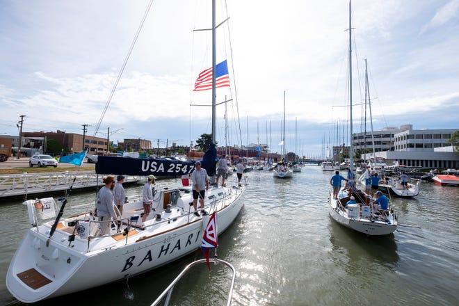 Boats head toward Lake Huron on the Black River Saturday, July 20, 2019, before the Port Huron-to-Mackinac Race.