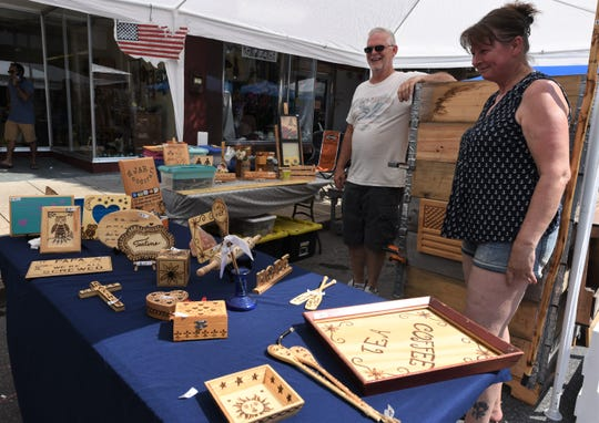 Old Market Day was held in Downtown Chambersburg on Saturday, July 20, 2019. The ChambersFest Street festival features craft and food vendors, kids' activities and music. The event was coordinated by the Downtown Business Council and sponsored by F&M Trust. Johnny and Angelika Rofrits, of Jar Woodworking in Chambersburg, said the flow of customers was more relaxed compared to last year's tent.