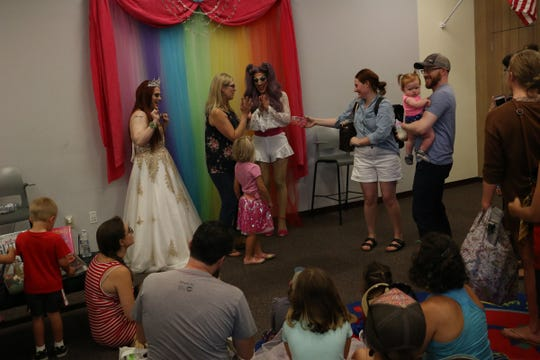 People gather for Drag Queen Story Hour at the Sparks Library on July 20, 2019.