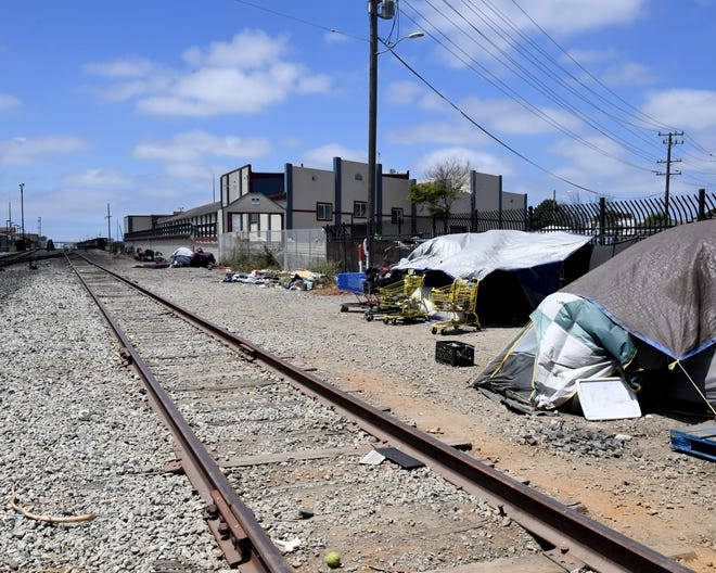 """The stretch of tracks where the man died is just feet from the building known as """"The Warehouse."""" July 20, 2019."""