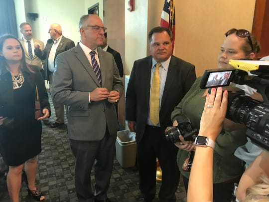 "Governor Jon Bel Edwards and Senator Ryan Gatti at the ""Katie Bug"" bill signing ceremony"