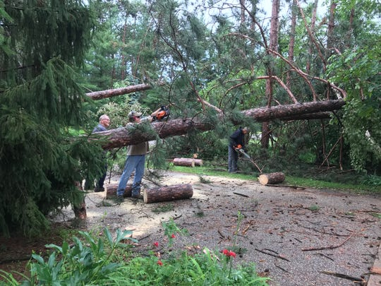 Severe storms caused tree damage Saturday, July 20, 2019, in Plover, Wis.
