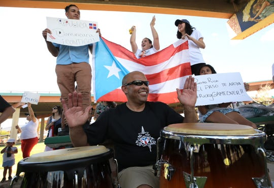 A group of about 50 Puerto Ricans in El Paso gather to call for the resignation of Puerto Rico Gov. Ricardo Rosselló on Saturday, July 20, 2019, at Lincoln Park.