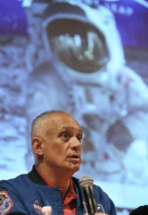 "El Pasoan and former NASA astronaut Danny Olivas speaks on a panel at the UTEP Union Cinema that introduced the ""Apollo 11"" 50th anniversary documentary on Friday, July 19, 2019, at the UTEP Union Cinema."