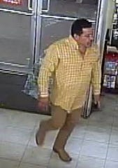 A man wearing a checkered-pattern yellow shirt and boots kicked in a glass door at a Family Dollar in the Mission Valley on July 7, 2019, to steal 20 headphones, according to Crime Stoppers of El Paso