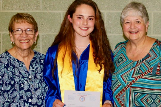 Lauren Kavanagh (center), daughter of Bethany and Derek Kavanagh, is the recipient of the $1,000 Millville Woman's Club scholarship. Kavanagh is pictured with the club's education co-chairs Barbara Westog (left) and Donna Pio at the Millville Senior High School Honors Assembly.